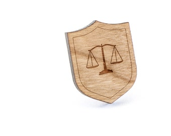 Law Scale Lapel Pin, Wooden Pin, Wooden Lapel, Gift For Him or Her, Wedding Gifts, Groomsman Gifts, and Personalized