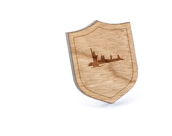 New York Skyline Lapel Pin, Wooden Pin, Wooden Lapel, Gift For Him or Her, Wedding Gifts, Groomsman Gifts, and Personalized
