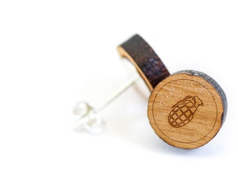 Grenade Stud Earring, Wooden Earring, Gift For Him or Her, Wedding Gifts, Groomsman Gifts, Bridesmaid Gifts, and Personalized