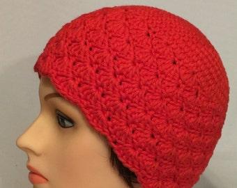 Orange Crocheted Cloche hat/ beanie