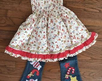 Custom Boutique Christmas Babydoll Top and Embroidered Jeans 5