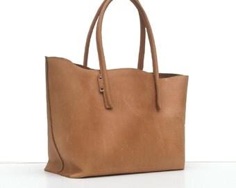 Leather bag / shopper in vintage, nature