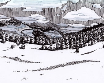 Drawing // A4 Forest Valley Pen and Ink
