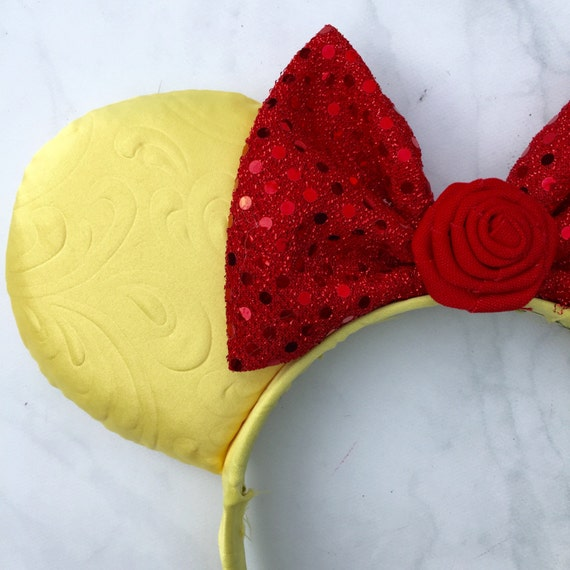 Belle Yellow and Red Rose Disney Inspired Ears by ...