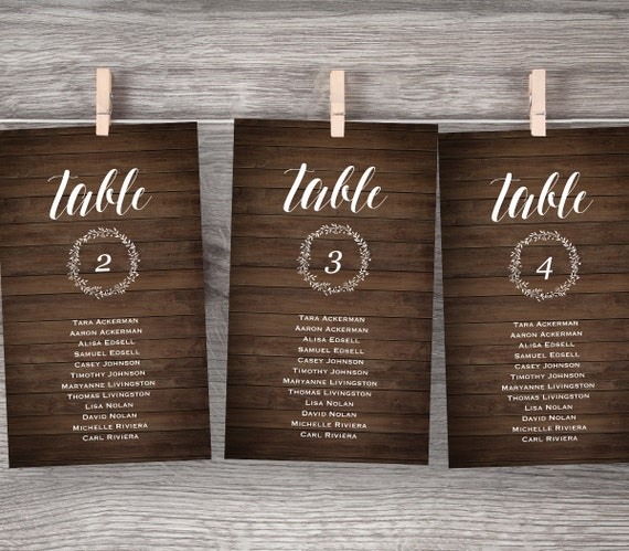 Rustic Wedding Seating Chart Ideas: Wedding Seating Chart Rustic Wood Seating Plan Editable PDF