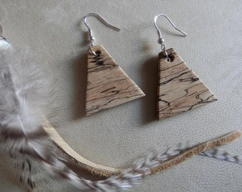 Beautiful Exotic Spalted Tamarind and Purpleheart Wood Earrings. FREE SHIPPING!!!!