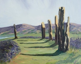Ring of Brodgar, Orkney, Scotland, Standing Stones, purple, heather, sea, coast, oil painting, landscape, stones,