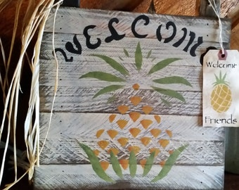 Primitive Pineapple Welcome/Hang Tag Sign