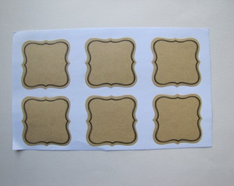 12 labels adhesive natural kraft enliserai black - 5.4 cm
