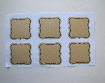 12 labels adhesive natural kraft liserai black - 5.4 cm square