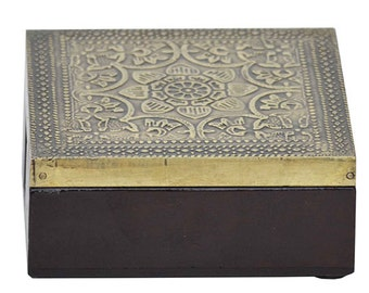 Beautiful brass and wood coaster- set of four 20% off Advertised Price