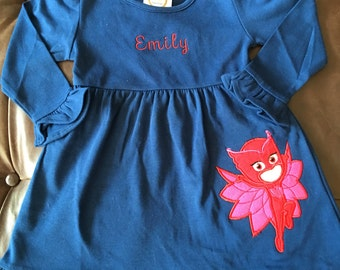 PJ Mask Dress - Owlette Dress - Owlette Outfit - Owlette Birthday Outfit - Amaya Dress