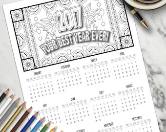 Adult Colouring Page Colouring Calendar A4