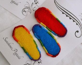 Toddler barrettes -rainbow-  (3 barrettes)