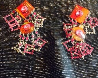 Fun Orange and Pink Statement Earrings