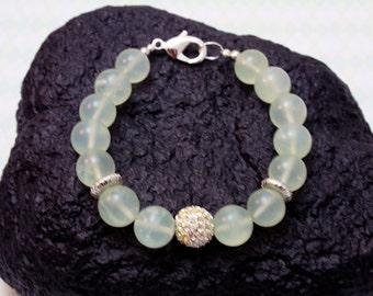 12mm Serpentine & Pave Crystal Ball Bali Bead Bracelet - Boho Cottage Chic