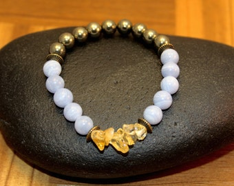 Pyrite, Blue Lace and Citrine- Therapeutic Quality Gemstone Bracelet for Healing