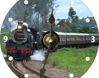 Beautiful Steam Engine Train CD Clock
