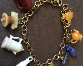 Old Vintage Plastic Celluloid Charm Bracelet