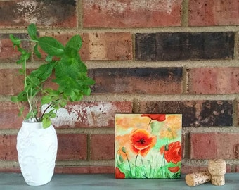"""Red Poppies -5""""x5"""" Original Acrylic Painting of red flowers on canvas"""