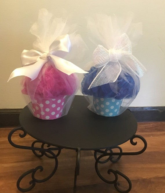 Cupcake Baby Shower Favors With Loofah And Bath Salt