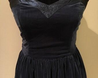 Velvet Midnight blue 1950's styles tea length dress UK 8