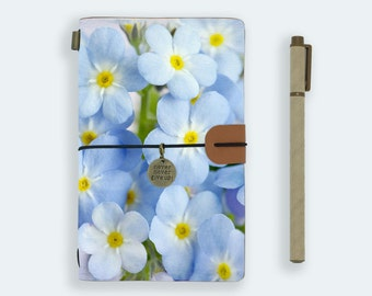 personalized leather journal refillable notebook diary genuine leather cover blue flower painting