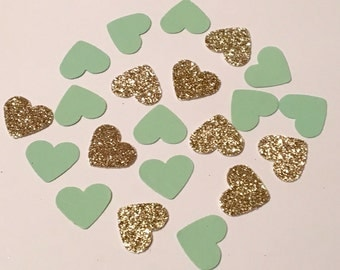 200 Green and Gold Heart Confetti Glitter Confetti Bridal Shower Confetti Wedding Confetti Anniversary Confetti Die Cut Punch Confetti