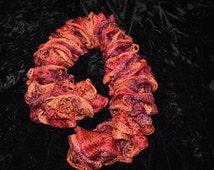 Autumn fall red Sashay yarn crochet scarf