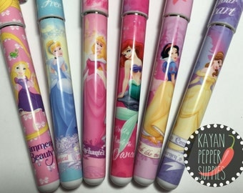 Disney Princess Rollen Pen (Cinderella, Belle, Aurora, Snow White, Tangle, Little Mermaid)