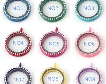 9 Colors 30mm floating locket With Rhinestones, Floating Lockets, Memory Locket, Glass Lockets