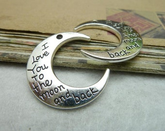10 I love you to the moon and back Moon Charm Antique Silver Tone 2 Sided (YT7911)