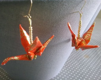 very resistant origami crane earrings
