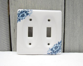 Vintage double switch-plate, porcelain blue flower switch plate, shabby chic bathroom floral switchplate, cottage chic bedroom, 2roads2take