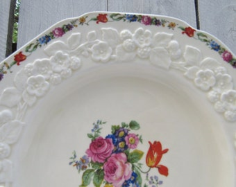 Crown Ducal Rose Dinner Plates, Embossed Gainsborough England Rose porcelain china, Cottage Chic Dinner plates, Set of 4 Garden plate
