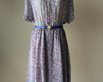 1980s Japanese chiffon vintage floral dress, summer dress