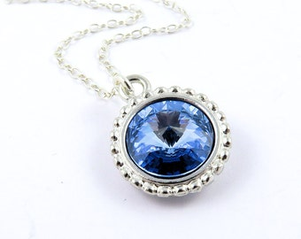Light Sapphire Necklace, Swarovski Birthstone Necklace, Crystal Necklace, Crystal Pendants, Blue Necklace, Blue Crystal Necklaces