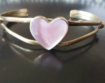 Mexico Silver Adjustable Cuff Bracelet with Pink Heart
