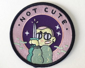 """not cute - 3"""" iron-on patch"""