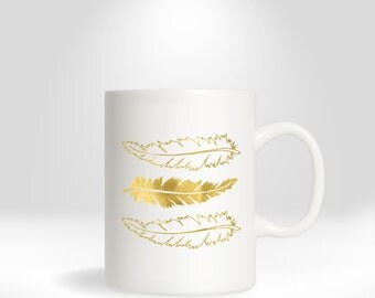 Mug - Feather, feather coffee mug, coffee mug, gold coffee mug, gold feather, drinkware, tea