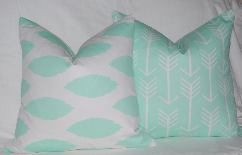 Couch Pillows Mint Green Decorative Throw Pillows Aqua