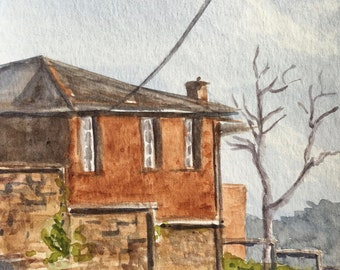 House on Newstead Hill, Watercolour Painting, Original Artwork