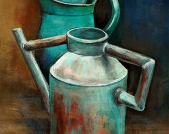 ENHANCED canvas print – Watering cans