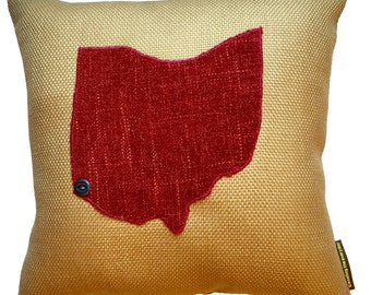 State Pillow created from repurposed designer textiles