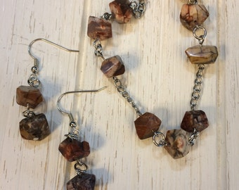 Rhyolite Nugget Bracelet and Earrings
