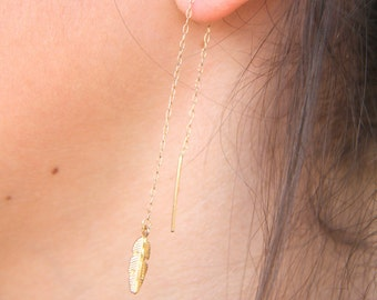 14k Gold Filled Threader Earrings, Feather Thread Earrings, Feather Earrings, Feather Fall Earrings, Fashion Earrings, Minimalist Jewelry.