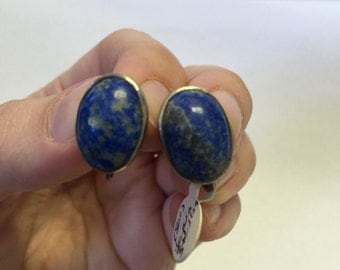 Vintage Lapis and Silver Earrings, Lapis Stone, Vintage Clip on Earrings