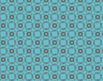 "25% Sale Studio e    Cotton Fabric  ""Flourish""  Chain     Turquoise Remnant"