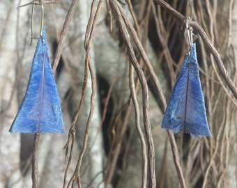 Blue triangle feather earrings