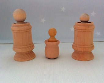 Natural Wooden Toy Play Set, Babies First Toy, Peg Doll Family, Montessori, Waldorf Toy
